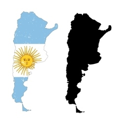 Argentina country black silhouette and with flag vector