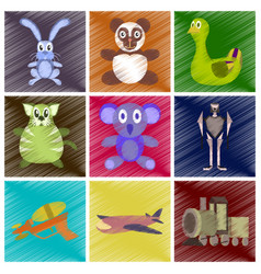 assembly flat shading style icons kids toys vector image