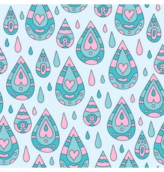 Autumn seamless blue ornamental pattern with rain vector
