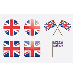 badges with United Kingdom flag vector image