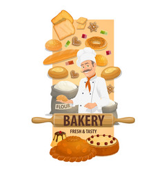 bakery shop chef with bread and buns banner vector image