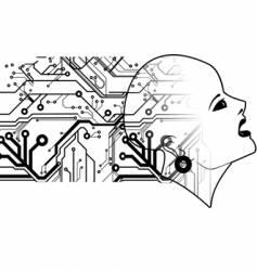 bald head and printed circuits vector image