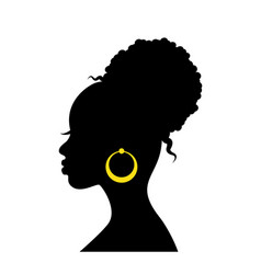 black silhouette head an african woman vector image