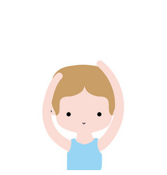 boy practice ballet with t-shirt and hairstyle vector image
