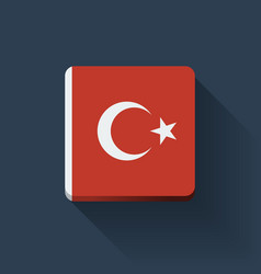 Button with flag of Turkey vector