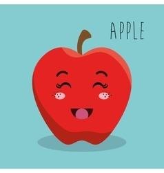 cartoon apple fruit facial expression design vector image