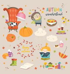 cartoon autumn set vector image