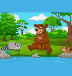 cartoon brown bear family in the forest vector image