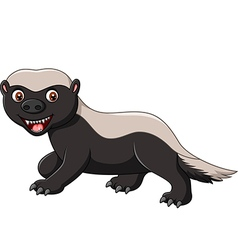 Cartoon funny honey badger isolated vector image