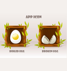 cartoon isolated eggs in wooden square twigs vector image