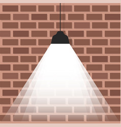 Ceiling lamp with bright light on brick wall vector