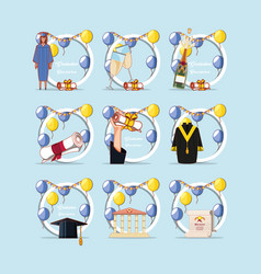 celebration graduation card set icons vector image