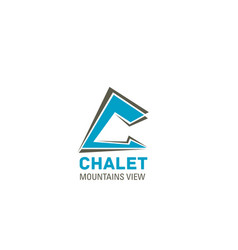 chalet hotel letter c icon vector image