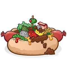 Chili Cheese Hot Dog With Toppings Cartoon vector