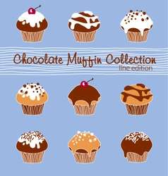 Chocolate Muffin Collection Lined vector