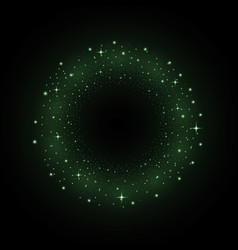 circle of glitter particles green color vector image