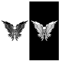 classic skull and wings vector image