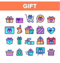 Color different gift sign icons set vector