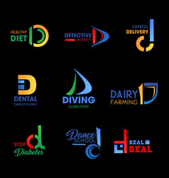 company identity symbols with letter d vector image