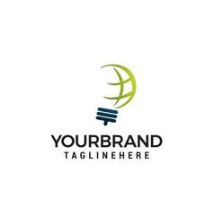creative bulb abstract logo design and globe sign vector image
