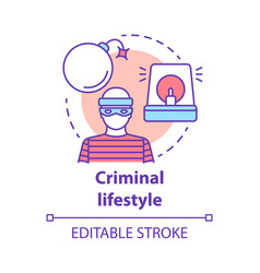 Criminal lifestyle concept icon committing crime vector