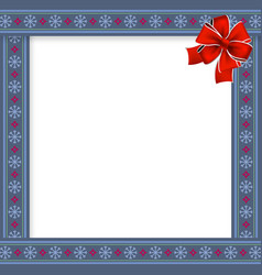 cute christmas frame with snow flakes pattern on vector image
