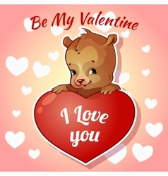 Cute teddy bear for Valentines Day vector image