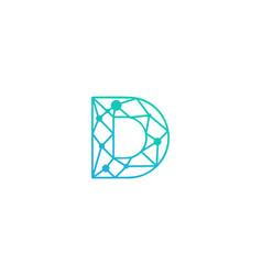D letter network logo icon design vector