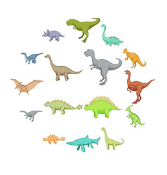 different dinosaurs icons set cartoon style vector image