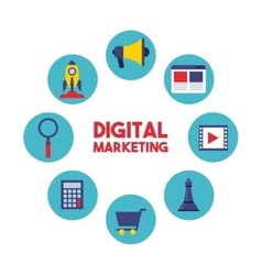 Digital marketing set line icons vector