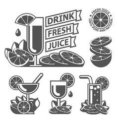 drink fresh citrus orange lemon juice labels vector image