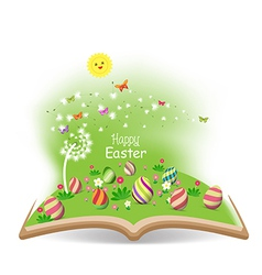 easter egg spring with dandelion in the book vector image