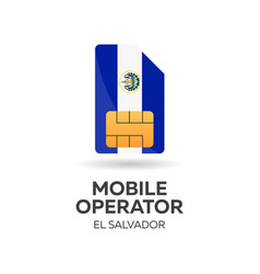 El salvador mobile operator sim card with flag vector