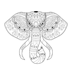 Elephant coloring for adults vector