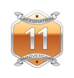 Eleven years anniversary celebration silver logo vector image