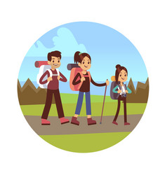 family hiking mother dad and vector image
