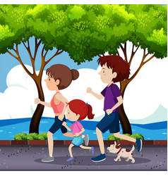 Family jogging on the road vector