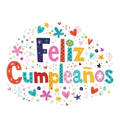 Feliz Cumpleanos - Happy Birthday in Spanish text vector