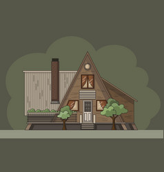 Flat forest cabin with triangle roof vector
