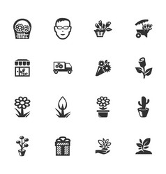 Flower shop icons set vector