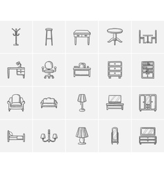 Furniture sketch icon set vector image