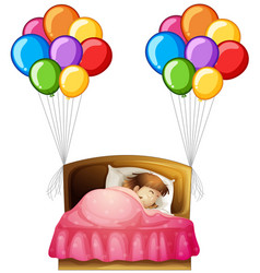 girl in bed with colorful balloons on sides vector image