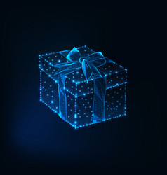 Glowing low polyg gift box with ribbon bow made of vector