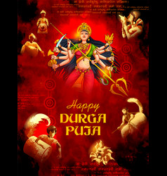 Goddess durga in happy durga puja subh navratri vector