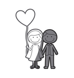 Grayscale silhouette of caricature of couple him vector