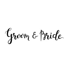 groom and bride hand-drawn lettering decoration vector image