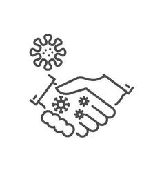 Handshake virus transmission thin line icon vector