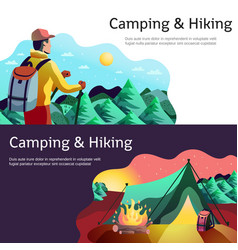 Hiking camping horizontal banners vector