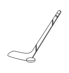 hocket stick and puck black and white vector image