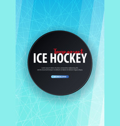 hockey background with puck and doodle elements vector image